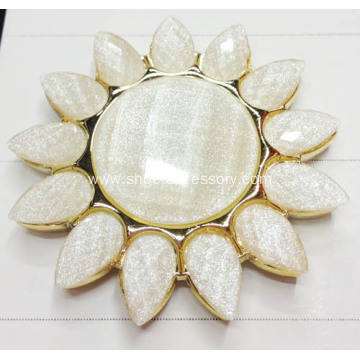 Sunflower Shoe Accessories, Fashion Metalized Plastic Shoe Flower