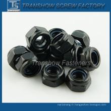 Écrou de verrouillage en nylon enduit noir (DIN985)