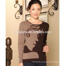 100% cashmere tricô camisola de moda feminina