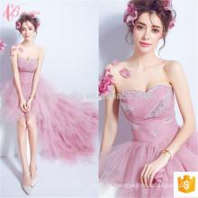 Stratified Pink Asymmetrische Kurze Off-Schulter Frauen Sexy Abendkleid
