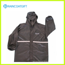 Black Polyester PVC Reflective Waterproof Rain Jacket