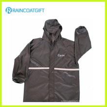 Schwarz Polyester PVC reflektierende wasserdichte Regenjacke