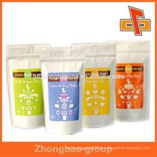 Nueva bolsa de papel de Kraft de la fabricación del estilo guangzhou blanco con zigzag y gusset inferior