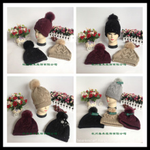 Classic Style Wholesale Unisex Wool Knitted Beanie Hat with Raccoon Fur POM Poms