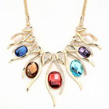 Fashion Gold Women Opal Rhinestone Statement Necklace