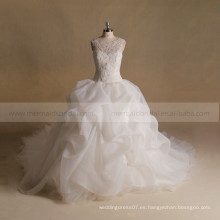 Noble Scoop Cuello exquisito Applique Lace & Beads A-line Ruffled vestido de novia Larga cola larga