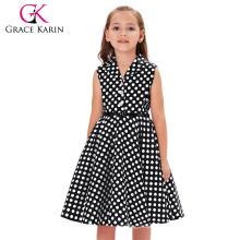 Grace Karin Kids Vintage 50s Dress Girls Retro Vintage Sleeveless Lapel Collar Black Dress With White Polka Dots CL009000-1