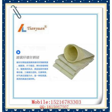 Bolsa de filtro de polvo de fieltro de aguja de fibra de vidrio de alta temperatura
