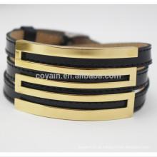Fábrica de fornecimento ajustável tamanho em aço inoxidável pulseira de couro de ouro