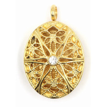Fashion Gold Plating Stainless Steel Perfume Locket Pendant Jewelry
