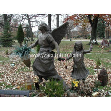 Life Size Bronze Angel and Girl Statue