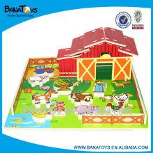 Educacional 3d casa de madeira do enigma com animais