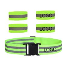 High Visibility Reflective Safety Belt Set Elastic Leg Arm Wrist Ankle Band Adjustable Size 2 Pack Set Custom Logo Cheap