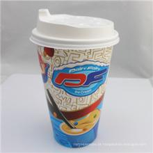 O logotipo feito sob encomenda imprimiu o único copo de café descartável do papel do PE da parede