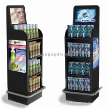 Estanterías de perfume de múltiples capas multicolores de metal simple, estantes de exhibición móvil del mercado