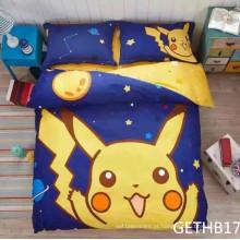 Conjuntos de cama de crianças Pikachu com impressão de algodão puro