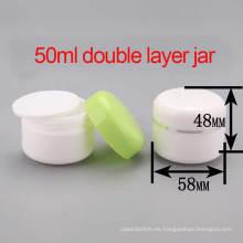 50ml PP Crema cosmética de la capa doble / tarro de la loción