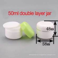50ml PP Cosmetic Double Layer Cream / Lotion Jar