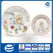 Serie de jardín rosado rosa flor en el patrón de tronco de porcelana decorada de porcelana servicio de placas de 26 cm o 27 cm