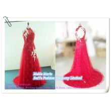 Vestido de noiva de renda bordado 2014 Open Back Vestido de noite Online Red Pageant Crowns com Tulle BYE-14064