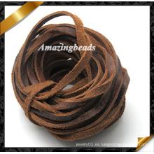 Cuero alambre, alambre de la joyería de 4 mm, cuerda de cuero de joyería, cuerda de cuero trenzado, cuerda de cuero de la pulsera, cuerda de cuero real (RF051)