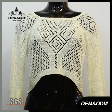 Женщины Привет-Ло Подол кружева назад свитер