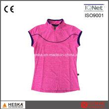 Benutzerdefinierte Chinesisch kurze Ärmel Kragen Hals Damen T Shirt