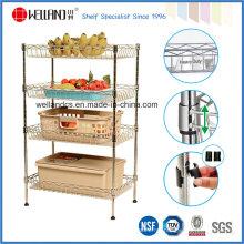 NSF Aprovação 4 Tiers cromo cesta de cozinha cesta de cozinha