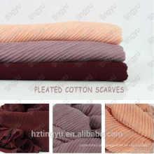 Moda Novo Padrão mulheres algodão plissado lenços de algodão plissado hijab