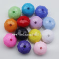 Acrylic Faceted Oval buckle European Beads with Opaque Color