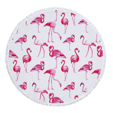 Turkish Pink White Flamingo Round Beach Towels