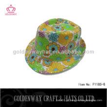 Girls Fedora Hats Floral Pattern sequin linda flor para promoção