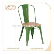 hochwertiger Vintage Metallstuhl / Holzsitzstuhl