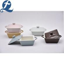Custom Ceramic Square Soup Pot Set with Lid