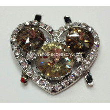 Heart-Shaped Alloy Decorative Shoe Buckle with Round Crystal Glass in Caffee Centered