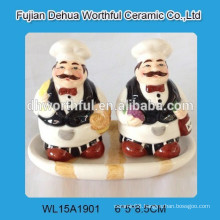 Ceramic chef salt & pepper shaker with dish