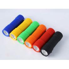9 LED Mini linterna de promoción Soft Touch antorcha con 3xaaa baterías