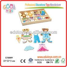 EDU OEM Toys Bear Dressing Jouets magnétiques en bois