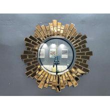 Relógio de Parede Espelho Dourado