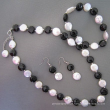 Pérola de moeda, conjunto de joias ágata/ônix preto (SET210)