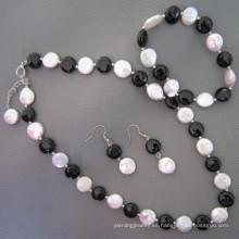 Perla de la moneda, joyería negra de la ágata / de Onyx fijada (SET210)
