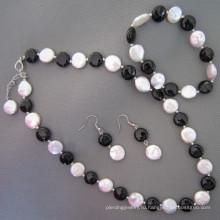 Монета Pearl, черный агат / Onyx комплект ювелирных изделий (SET210)