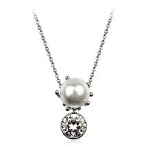 2016 Novo Estilo colar de ouro bonito colar de pérolas perfeitas e colar de pingente de cristal