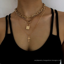 Punk multilayer snake bone chain key lock necklace, U-shaped design chain cross pendant mix and match lock necklace