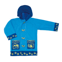 kids blue colors pvc raincoat