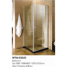 avec cabine de douche à demi-cadre sans charnière