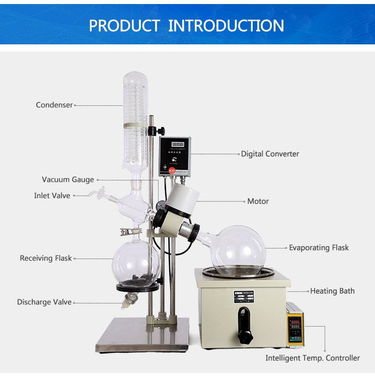 5L Lab Glass Distillation Rotary Evaporator