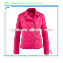 Casual ladies quilting padded pink jacket