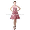 2018 novo design vestido de noiva doce coração lady jantar vestido curto design atado lantejoulas vestido de noite para a noiva