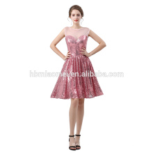 2018 nuevo diseño Vestido de novia dulce corazón dama cena vestido de diseño corto lentejuelas atado vestido de noche para la novia